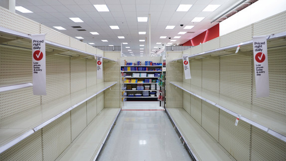 Shelves at the Target department store